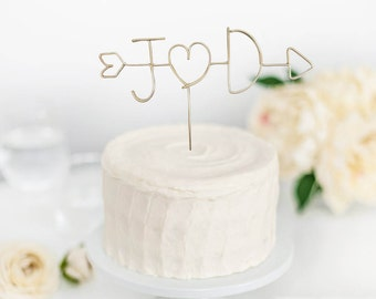 Arrow Initials Topper -  Wire Cake Topper - Personalized Cake Topper -Rustic Wedding Decor - Wedding Cake Topper - Cake Topper - Blue Brides