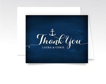 Nautical Thank You Custom Cards & Envelopes. White Calligraphy Navy Chalkboard. Printed Heavy Weight Folded . Anchor Ocean Beach Wedding