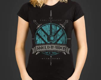 Lagertha the Shieldmaiden - Thorgerd - a runic Vikings inspired Ladies t-shirt, screen printed by hand - geek gift