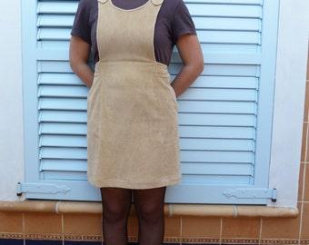 Mono dress with khaki corduroy vintage 70s