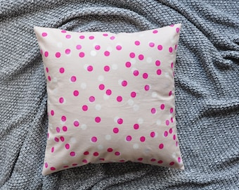 Pink Cushion Cover, Throw Pillow Cover, Throw Cushion Cover, Decorative Cushion Cover, Decorative Pillow Cover - Pink Dots