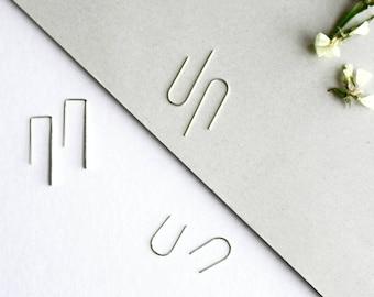 Silver Arc Earrings - Everyday Earrings - Earrings Set - Line Earrings - Threader earrings - Silver Staple Earrings -Simple Minimal Earrings