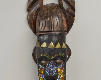 African Mask Ashanti Horned Wood Brass Blue White Beaded Mask Ghana Handmade Queen Mask Ceremonial Ancestor Mask Unique Statement