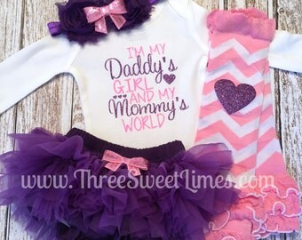 Baby Girl Clothes | Mother's Day Outfit | I'm My Daddy's Girl And My Mommy's World | Father's Day |Opt Headband Leg Warmer  Baby Shower Gift