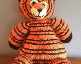 "Knitted Stuffed ""Tyler"" The Tiger"