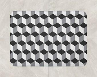 Bath Mats Rugs Etsy - Black and white geometric bath rug for bathroom decorating ideas