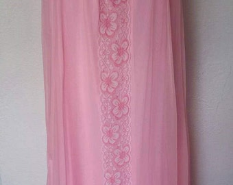 1960s Pink Nylon Long Night Gown Lingerie Lace Medium