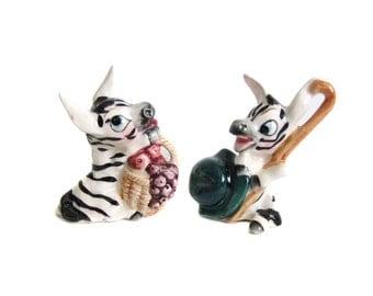 Vintage Zebra Salt and Pepper Shakers, Japan Zebra Figurines, Kitsch Animals, Anthropomorphic Salt and Pepper Shakers