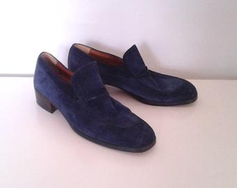 Vintage 1960's Pierre Cardin Royal Blue Suede Shoes Loafers Sz 7 1/2 Men's 9 Women's Designer Mod Dapper
