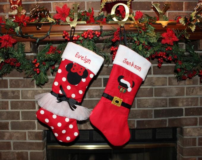 Mickey Mouse inspired Christmas stocking, Minnie Christmas stockings, Disney stockings,Personalized Christmas decor,Family Christmas