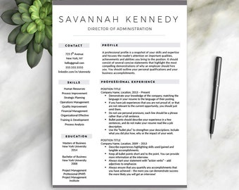 Professional Resume Template For Word | 1 And 2 Resume Template + Cover  Letter + References