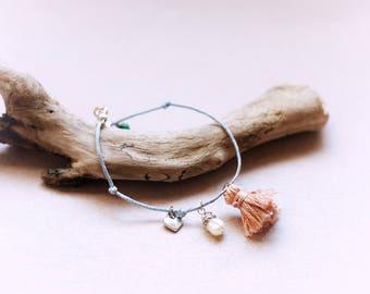 Lovely natural pearl, jade and tassel bracelet, pastel blue cotton cord bracelet, blush tassel, tiny heart charm, Friendship gift