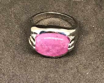 Polished Pink Stone and Silver-plated Ornate Fashion Ring