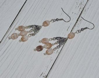 Bohemian earrings, Long Chandelier Earrings, Handmade Gypsy Earrings, Indian Style Earrings, Beige, Gift For coworker sister, SURGICAL STEEL