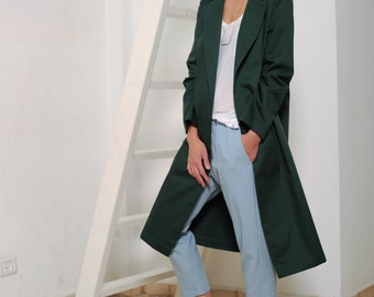 Women's trench coat, trench coat, coat in green, light-weight coat, classic trench, women jacket