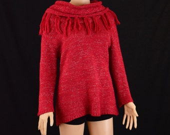 Womens Sweater - 90's Style Chic Fab Knitted Ruby Red Sparkle  Sweater by Elementz / Women Size Medium