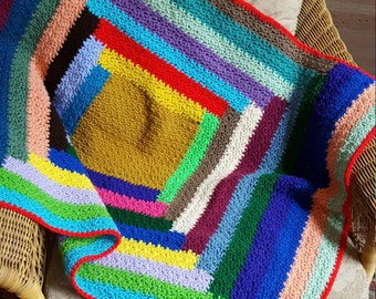 Handmade Vintage Abstract Geometric Rainbow/Striped Afghan/Throw Blanket in Bold Color Way
