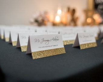 Wedding Place Cards Gold Glitter Silver