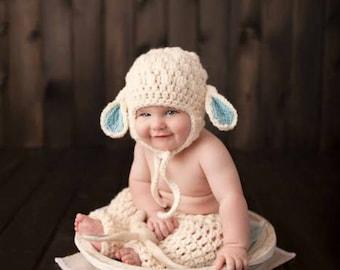 Crochet Baby Lamb Hat Beanie Bonnet Pants Diaper Cover Set Infant Newborn Photography Photo Prop Baby Shower Gift Present Themes