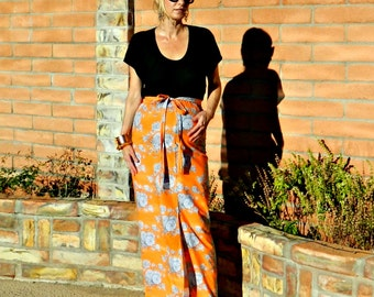 Long Skirt-Maternity Skirt-Maxi Skirt-Maxi Skirts Long-Maxi-Slit Sheath Style-Womens Clothing Staple-Premium Cotton Floral-Many Body Sizes