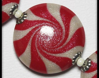 Handmade Beads, Polymer Clay Beads, Beads, Christmas Beads, Peppermint, Candy, Swirl, Spiral, Red, White, Silver, Christmas, Candy Cane