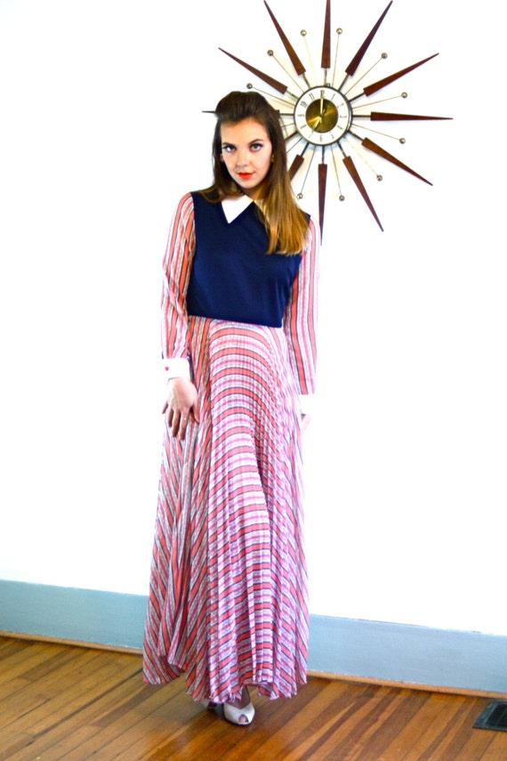 Vintage 70s Maxi Dress Navy Blue Full Pleated Skirt Long Sleeve Big White Collar Nautical Red White and Blue Stripes 1970s Sheer Maxi Gown