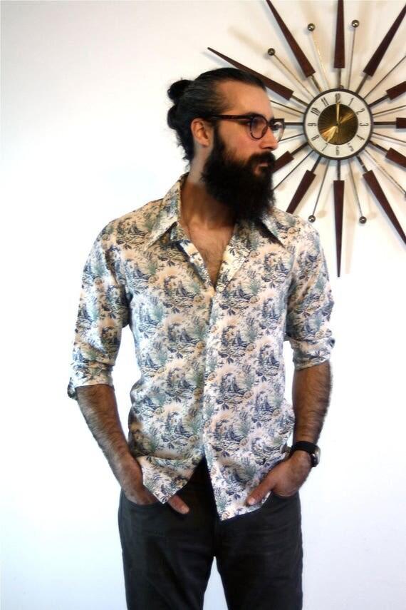 Vintage LEVIS shirt, Levis Panatela shirt, Nautical sail boats, Mens button down, Long Sleeve Shirt, big Butterfly Collar, 70s Levis shirt
