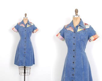 Vintage 1970s Dress / 70s Denim Patchwork Shirtdress / Blue ( medium M )