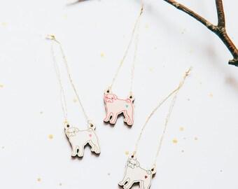 Pug Christmas Tree Decoration (pug dog Christmas ornament, pug Christmas decoration, pug stocking filler, pug secret santa gift)