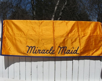 Vintage MIRACLE MAID Cookware Advertising Cloth Table Cover Banner Cookware Display Dealer Shows Promotions ~ Good Usable Fabric!