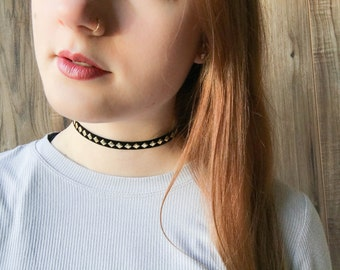 Black and gold diamond choker | Trendy choker jewelry | Diamond choker | Classic choker |  Simple choker | Layering jewelry | Layered choker
