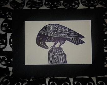 Purple Raven Lino Print, Original hand Printed Lino Print Limited Edition