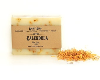 Calendula soap, artisan soap, all Natural Soap Handmade, Unscented Soap, Vegan Soap, sensitive skin soap, Christmas stocking stuffer
