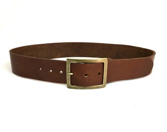 Handcrafted cognac color leather belt. Men's leather belt. Very Thick leather. Bronze buckle. 5 cm/ 2 inch wide. For him. One of a kind Belt