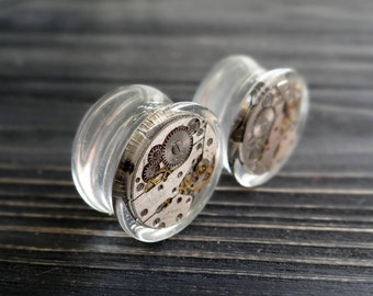 Steampunk jewelry ear plugs resin plugs and tunnels anniversary gifts for boyfriend steampunk plugs watch movement ear gauges steam gauge