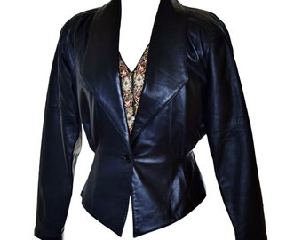 Vintage 1980's Near Mint Tannery West Cropped Leather Jacket