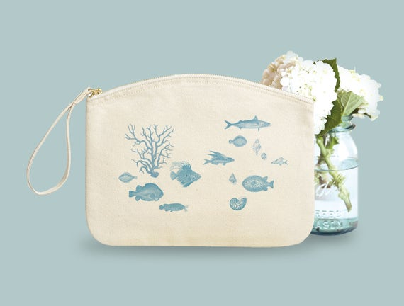 Seaside. Cotton vanity case, organic cotton, novelty gift, gift coworker, hand bag.