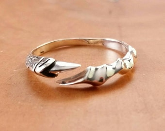 Dragon Claw Ring Sterling Silver FREE Gift Box and FREE Shipping Codes Below Goth Gypsy Witch Bohemian Boho Dragon Jewelry Stacking Ring