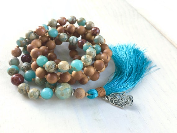 Sandalwood and African Opal Mala, Lotus Mala Necklace, Boho Mala Beads, Knotted Mala, Bohemian Jewelry, Silk Tassel Mala, Spiritual Jewelry