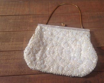 Sequin and Mother of Pearl Evening Purse, Gold Purse, Bridal Purse, Wedding Purse