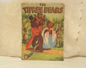 The Three Bears Picture Book, 1951 Goldilocks Fairy Tale, Mid Century Children's Book, Whitman Book, 50's Kids Book, Vintage Story Book,