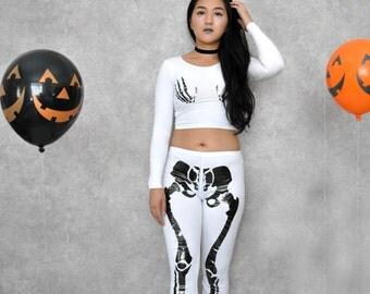 White Halloween Skeleton Bone Leggings