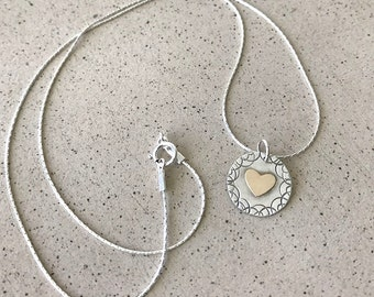 Small heart pendant ,  Sterling Silver Heart Necklace , Mix metal heart jewelry ,  Goldfield Heart  Necklace, Bat Mitzvah gift