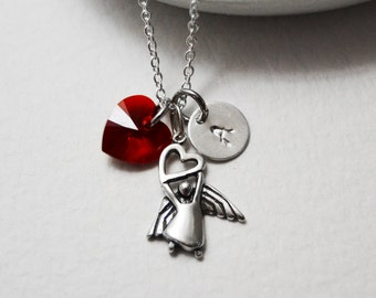 Sterling Silver Angel Necklace, Valentine's Day Gift, Dainty Red Heart Necklace  Sterling Silver Heart Jewelry Personalized Stamped Initial