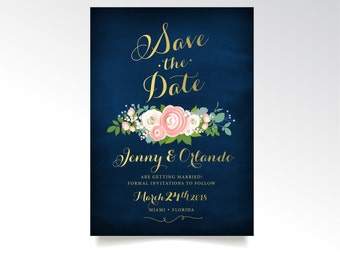 The JENNY . Save the Date . Gold Calligraphy & Navy . Pink Blush Peony White Rose Green Garland Ranunculus Dusty Miller Blue . PRINTED Cards