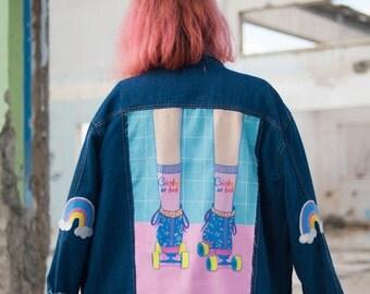 Oversized loose embellished denim jacket with rainbow elbow patches