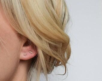 Bar Stud Earrings - Silver Stud Earrings - Tiny Stud Earrings - Mix & Match Earrings - Line Earrings - Minimalist Earrings
