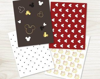 Mickey Mouse Coordinating Papers, Printable Digital Paper, Mickey Mouse Birthday Party, Party Decorations (#307)
