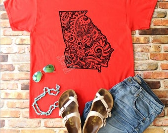 Gameday Shirt, Go Dawgs, UGA, Unofficial, Georgia, University of Georgia, Tailgate, Football, Zentangle, Mandala, Boho Shirt, Gift for Her