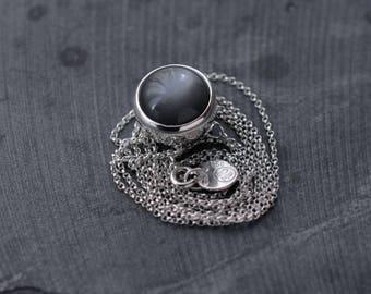 Grey Gray Moonstone ball-like pendant necklace